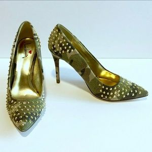 Luichiny Camouflage Gold Stud Pumps